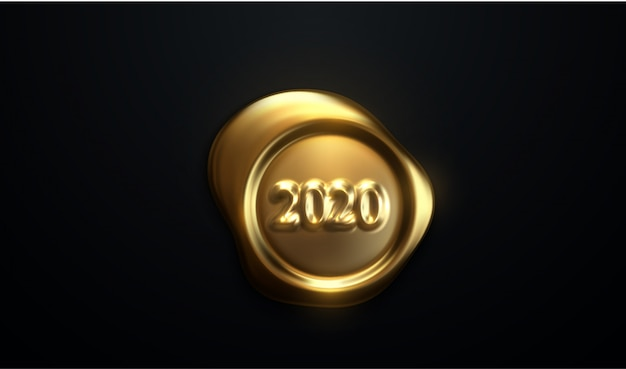 Happy new year 2020. realistic 3d stamp on black paper Premium Vector