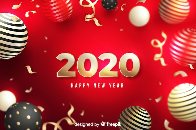 Happy new year 2020 on red background with globes Free Vector