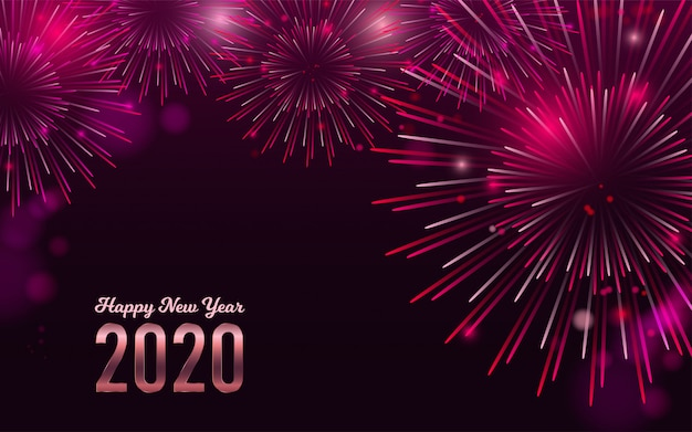 Happy new year 2020 red fireworks bacground Premium Vector