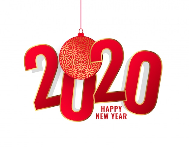 Happy new year 2020 red text background Free Vector