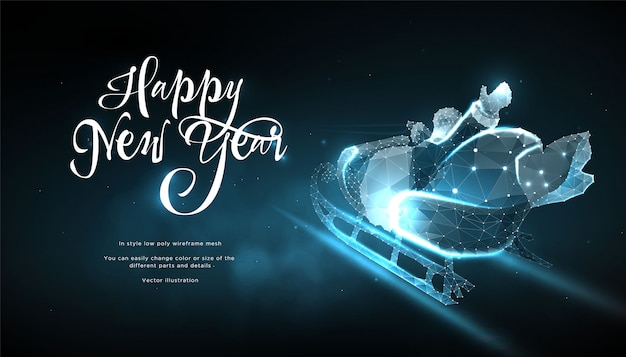 Happy new year 2020. santa claus in sleigh in style low poly wireframe Premium Vector
