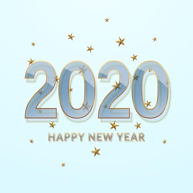 新年あけましておめでとうございます2020。ゴールドのアウトラインを持つ透明なガラスフォント。 Premiumベクター