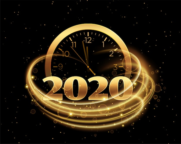 Happy new year 2020 with clock and golden streak Free Vector