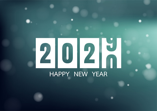 Happy new year 2020 with colorful bokeh Premium Vector