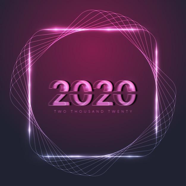 С новым 2020 годом со светящейся неоновой рамкой Premium векторы