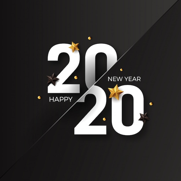 Happy new year 2020 with golden star decoration Premium Vector