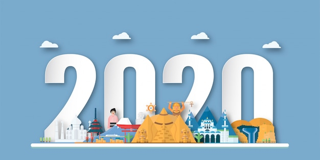 Happy new year 2020, year of the rat Premium Vector