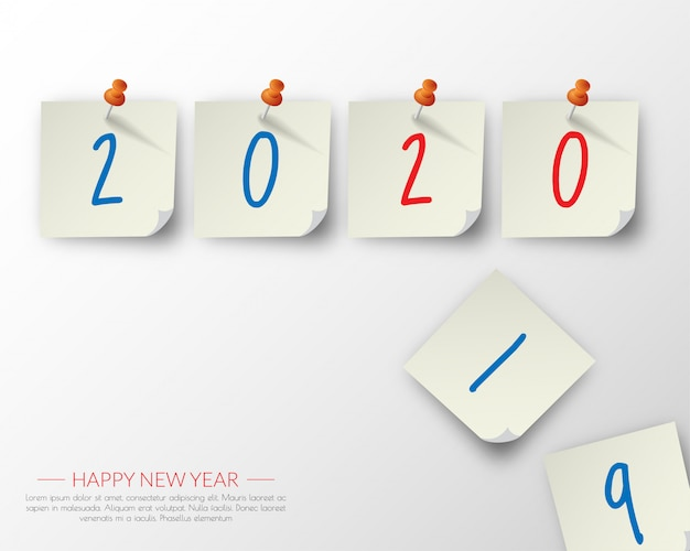 Happy new year 2020 Premium Vector
