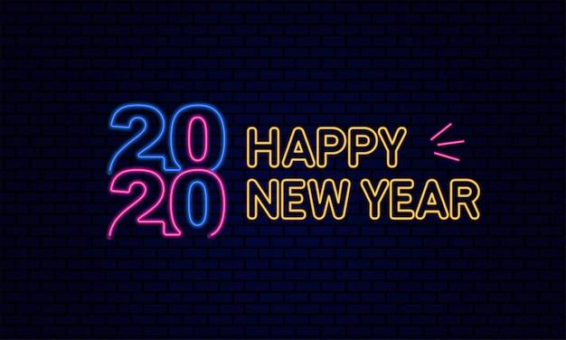 Happy new year 2020 типография светящийся неоновый свет Premium векторы