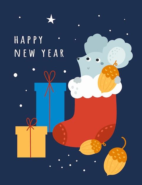 Happy new year 2020ラット、マウス、マウス Premiumベクター