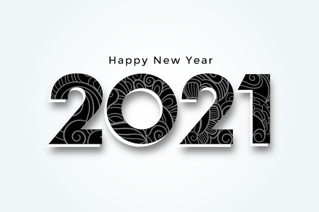 Happy new year 2021 3d style background design Free Vector