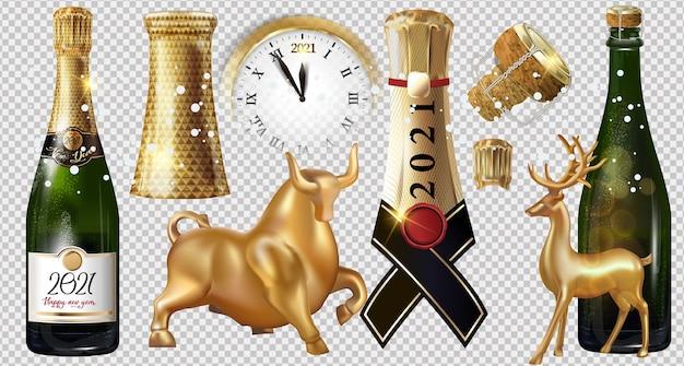 С новым 2021 годом бутылка шампанского на прозрачном фоне. иллюстрация шаблона оформления новогодней вечеринки с элементами: золотой бык, олень, часы Premium векторы