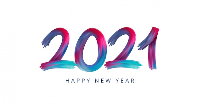 새해 복 많이 받으세요 2021 아크릴 페인트 무지개 화려한 숫자 프리미엄 벡터
