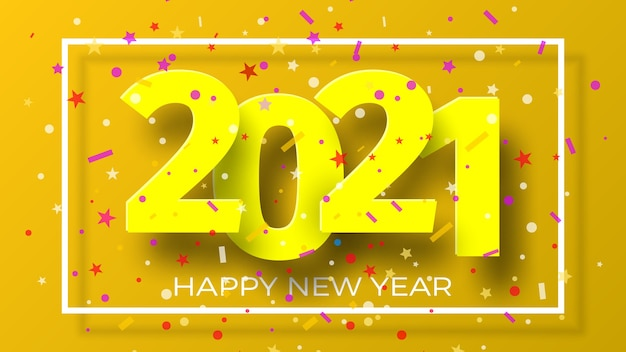 Premium Vector Happy New Year 2021 Background With Confetti Greeting Card Design