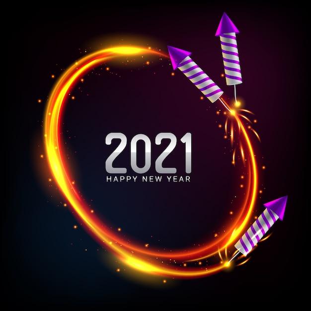 С новым годом 2021 фон с фейерверком Бесплатные векторы