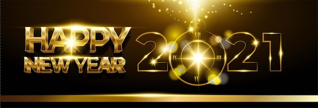 Happy new year 2021 background with golden number and clock Free Vector
