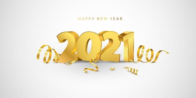 明けましておめでとうございます2021バナー。金の紙吹雪と挨拶のデザインテンプレート。 Premiumベクター