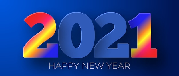 Premium Vector Happy New Year 2021 Blue Background Greeting Card Design