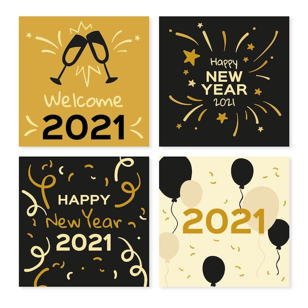 Happy new year 2021 cards with balloons and fireworks Free Vector