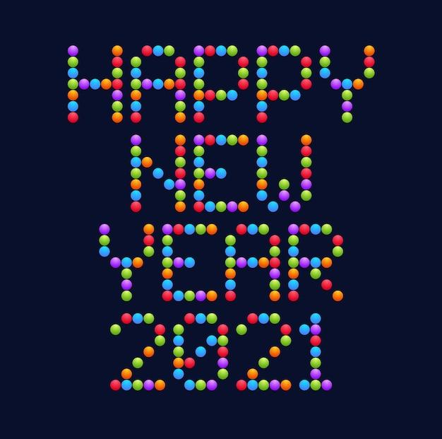 新年あけましておめでとうございます2021サークルアートタイポグラフィ。休日のグリーティングカードイラスト。サークルとドットからの手紙。電子スコアボードのような幾何学的な新年のポスター。 Premiumベクター
