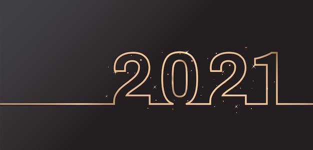 검은 배경에 해피 뉴가 어 2021 우아한 디자인. 황금 2021 번호. 프리미엄 벡터