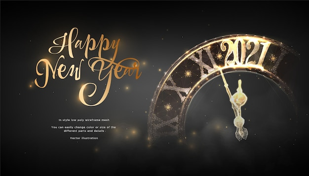 Happy new year 2021 futurictic banner. clock strikes the chime Premium Vector