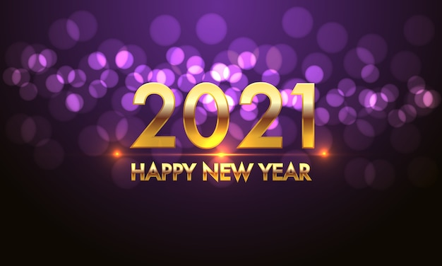 Happy new year 2021 gold number and text on violet bokeh light effect black background. Premium Vector