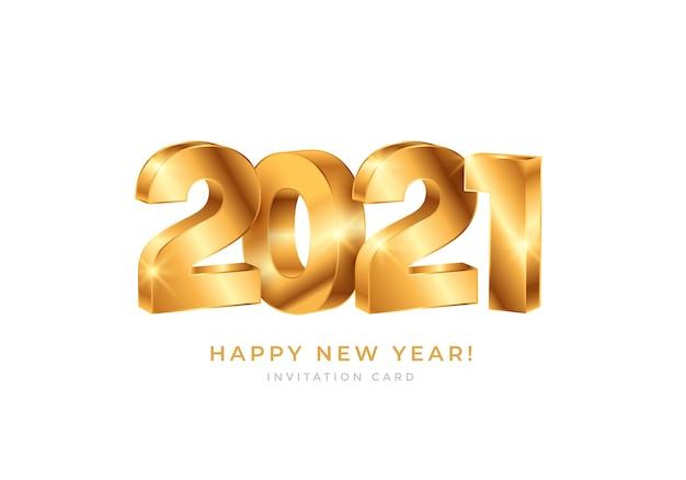明けましておめでとうございます2021ゴールドナンバータイポグラフィ Premiumベクター
