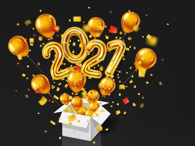 明けましておめでとうございます2021年。ゴールドのリアルな3dバルーンは、金属の数字とヘリウムバルーン、キラキラゴールドの紙吹雪のギフトボックス爆発をホイルします。 Premiumベクター