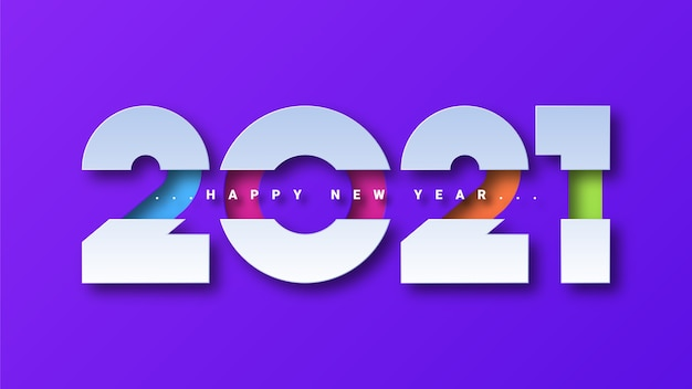 Happy new year 2021 greeting card background Premium Vector