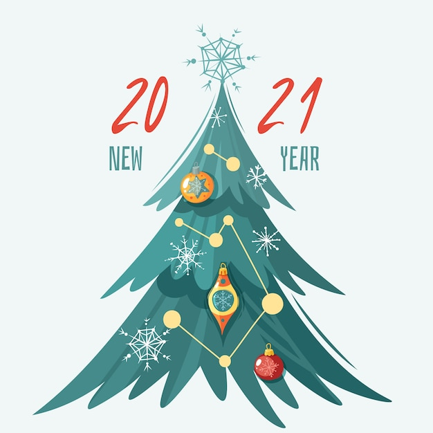 Picturs Of 2021 Decoratied Christmas Trees Premium Vector Happy New Year 2021 Greeting Card With Decorated Christmas Tree With Glass Balls Snowflakes And Garlands