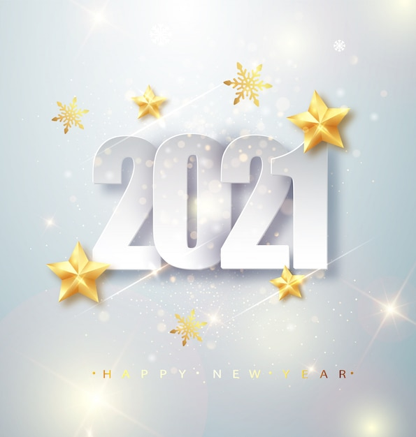 Happy new year 2021 greeting card with silver numbers and ...