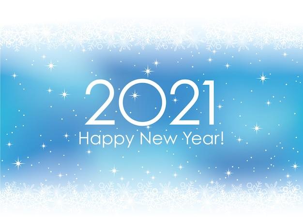Cartolina d'auguri di felice anno nuovo 2021 con fiocchi di neve Vettore gratuito