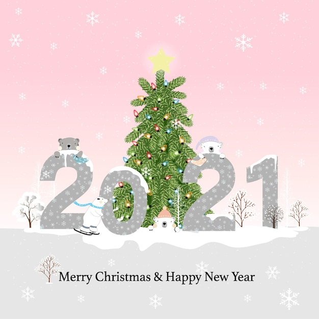 Hanging Banner Images Merry Christmas & Happy New Year 2021 Premium Vector Happy New Year 2021 Merry Christmas On Blue Pastel With Polar Bear And Pine Trees Forest Kawaii Flat Cartoon Design