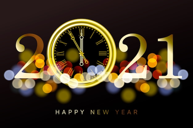 Premium Vector   Happy new year 2021 - new year shining background with  gold clock and bokeh effect