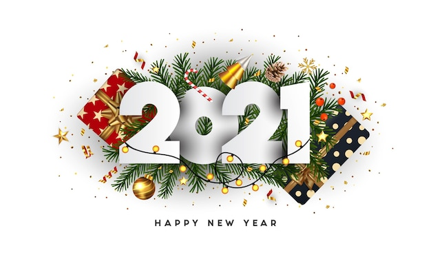 Premium Vector | Happy new year, 2021 numbers on green fir ...