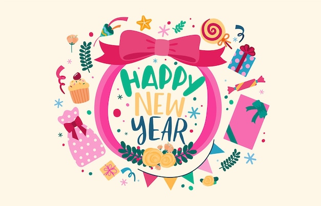 Happy new year 2021 party poster or banner with  gift box icons Free Vector