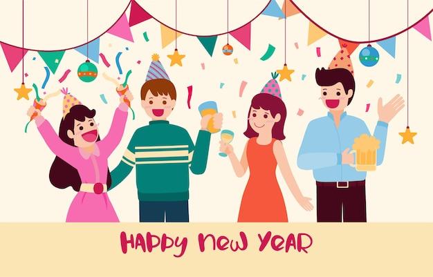 新年あけましておめでとうございます2021年パーティーポスターまたはギフトボックスアイコンのバナー 無料ベクター
