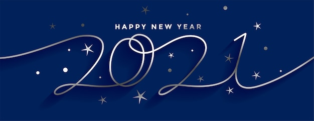 Free Vector Happy New Year 2021 Silver Line Style Banner Design