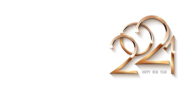С новым годом 2021 шаблон, золотые сияющие числа в свете с блестками. Premium векторы