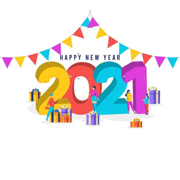 Premium Vector Happy New Year 2021 Template