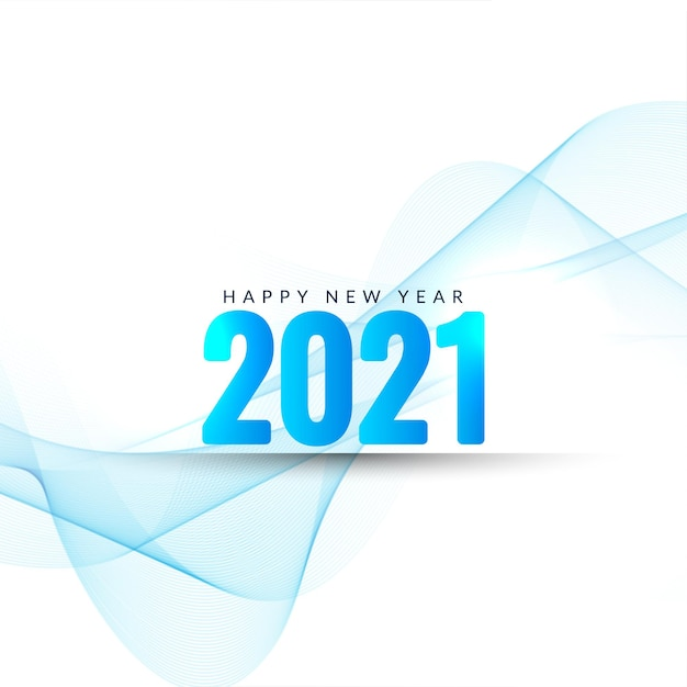 Happy new year 2021 text blue wavy background Free Vector