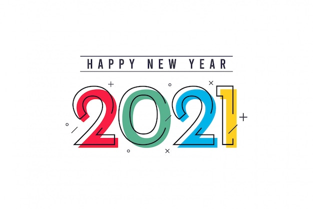Happy new year 2021 vector template. Premium Vector