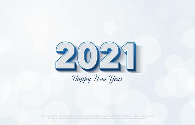 흰색 배경에 3d 흰색 숫자와 함께 새 해 복 많이 받으세요 2021. 프리미엄 벡터