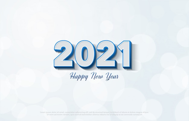 premium vector happy new year 2021 with 3d white numbers on a white background https www freepik com profile preagreement getstarted 9863823