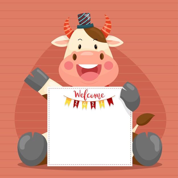 アンスリウムのキャラクターの笑顔で新年あけましておめでとうございます2021 無料ベクター