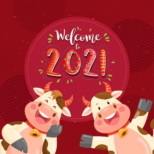 Felice anno nuovo 2021 con carattere di anthurium sorridente Vettore gratuito