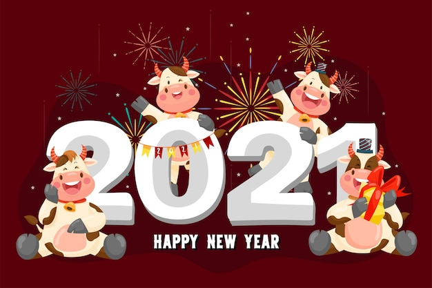 Happy new year 2021 with anthurium character smiling Free Vector