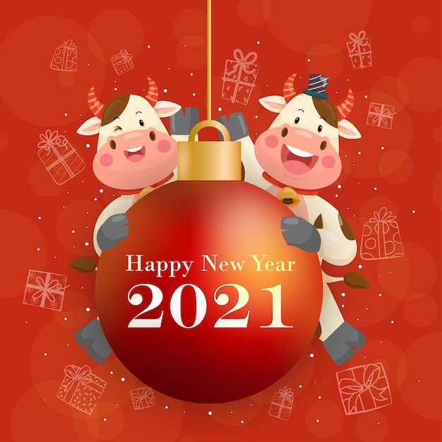 С новым годом 2021 года с улыбающимся персонажем антуриума Бесплатные векторы