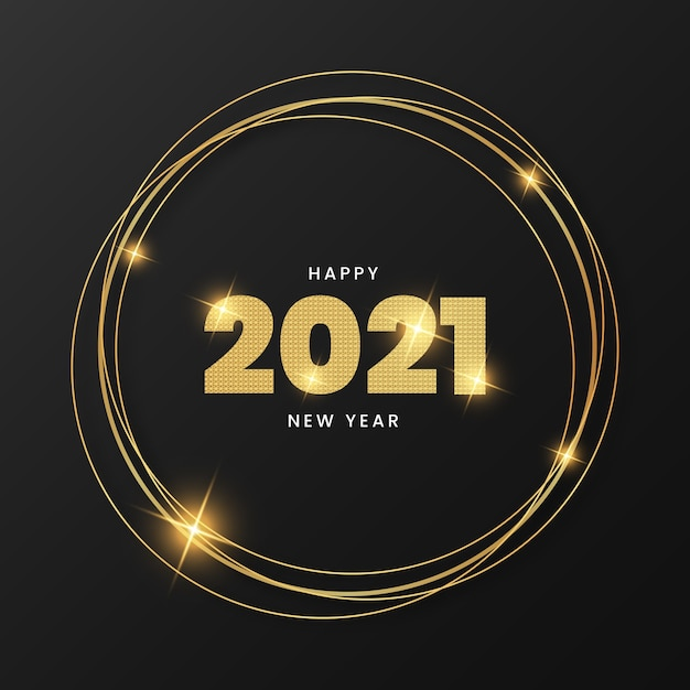 Happy new year 2021 with elegant gold frame Free Vector
